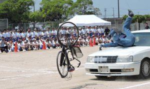 自転車の飛び出しによる事故場面の再現