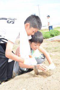 ジャガイモを植える子どもたち