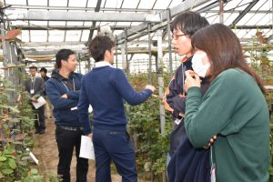 ほ場を案内する生産者(右から2番目)と説明を受ける参加者